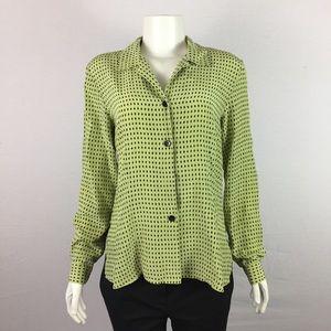 COLDWATER CREEK Green Polka Dot Silk Blouse Sz S